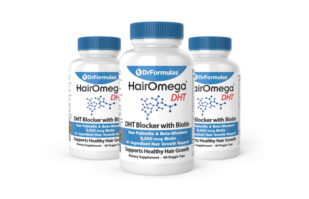 DrFormulas DHT Blocker for Men and Women | HairOmega Advanced Hair Growth Supplements with Biotin 5000 mcg | Hair Loss Vitamins Pills